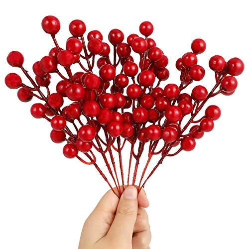 Gitua 20 Stück Künstliche Beerenstiele, Mini Simulation Dekorative Rote Beeren für Hochzeit, Weihnachten, Basteln, Blumenschmuck und Kranz Dekoration