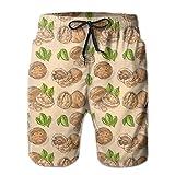 LanKa Herren Badehose Quick Dry Sommerurlaub Strand Shorts Walnüsse Muster Beachwear,M