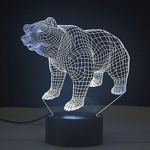 3D-Lampe, optische Illusion, Nachtlicht, 7 Farbwechsel, Touch-Tisch-Lampen, mit USB-Kabel für Geburtstagsgeschenke, für Jungen, Heimdekoration, Bär,