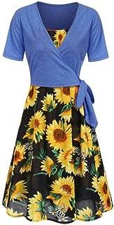 Women Summer Dresses, Women's Short Sleeve Front Cross Top Sunflower Print Mini Dress Suits T-Shirt