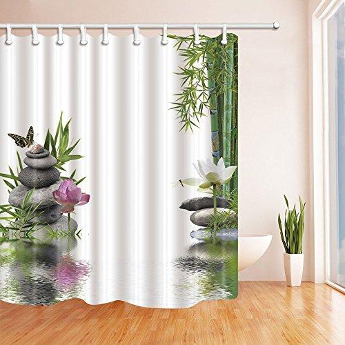 LRSJD Spa Decor Lotus met bamboe bladeren vlinder vlinder steen bad gordijn polyester stof waterdichte douchegordijnen 71 x 71 in douchegordijn haken inbegrepen groen