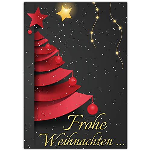A4 XXL Weihnachtskarte WEIHNACHTSBAUM mit Umschlag - edle Klappkarte für liebe Kollegen Freunde Verwandte - Frohe Weihnachten Karte von BREITENWERK