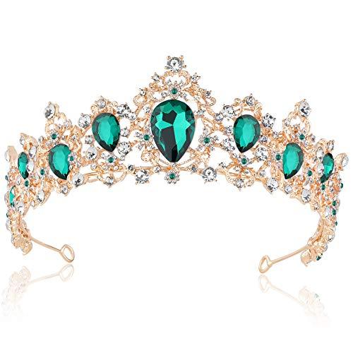 Coucoland Braut Tiara Hochzeit Krone Luxus Prinzessin Diadem Kristall Geburtstag Krone Damen Kostüm Accessoires (Stil 4 - Gold Grün)