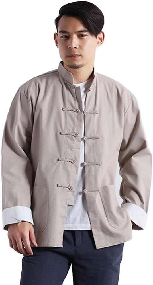 Idopy Hombres Chino Tradicional de algodón de Lino Tai Chi Kung Fu Mandarín Cuello Camisa de botón de Rana