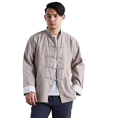 060e4501a91 Idopy Men`s Chinese Traditional Linen Cotton Tai Chi Kung Fu Mandarin Collar  Frog-