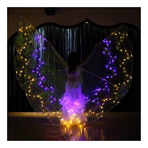 SUKDO Alas De Danza del Vientre para Mujer, LED, Alas De ISIS Coloridas, Bastn Telescpico, Accesorios para Disfraces De Danza De Rendimiento,36 Colors/Discoloration