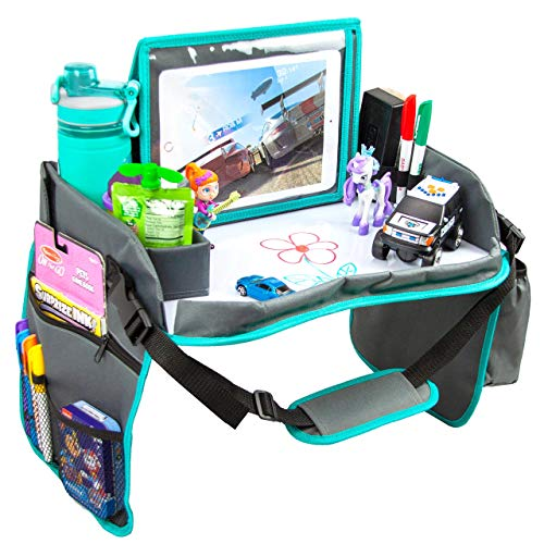 Kids Travel Tray with Dry Erase Board, Car Seat Lap for Food & Play Activity, Carseat Table Trays for Toddler, Kid Activity Desk for Air Travel, No-Drop Tablet Holder & Borders (Grey with Blue Frame)