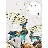 QND,Mural,Paisaje Abstracto Golden Elk Leaf Pintura en Lienzo Carteles Imprimir imágenes artísticas de Pared para la Sala de Estar Decoración del hogar Sin Marco, 1,50x75cm Sin Marco