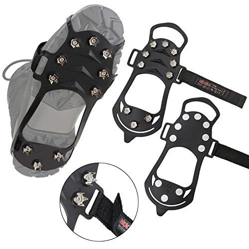 ALPIDEX Anti Rutsch Schuhspikes 10 Krallen Ice Grips Schnne Spikes Größe 38-47, Größe:L