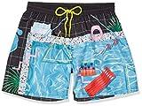 Diesel Men's Wave Miami 16 Inch Swim Trunk, Yoko Honda Black/Blue Pool Print, Medium
