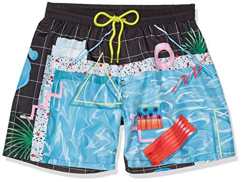 Diesel Men's Wave Miami Print 16 Inch Swim Trunk, Yoko Honda Black/Blue Pool, Medium