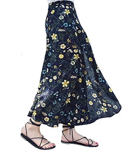 Botanmu Mujer Falda Cruzada Larga Falda Verano Retro Talla Grande Falda Estampado Floral Chiffon Cintura Ajustada