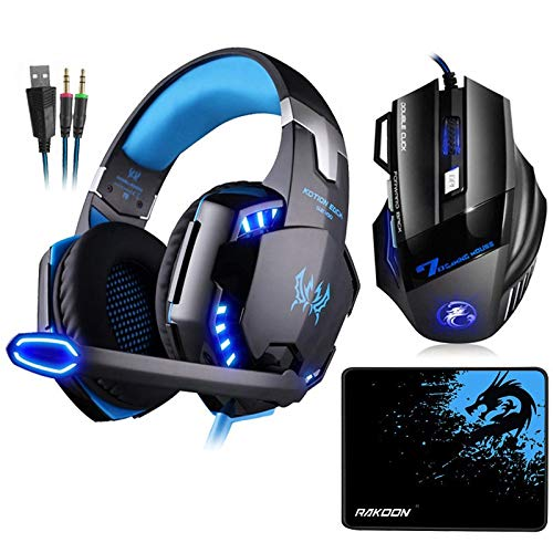 Best Quality - Mice - G2000 Stereo Gaming Headset Deep Bass Headphones with Mic LED Light+7 Buttons 5500DPI Gaming Mouse+Mouse pad for Game - by Viet-SC - 1 PCs