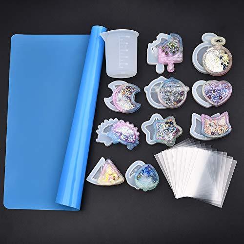 LANBEIDE - Juego de 31 moldes de silicona para fundición de joyas de resina, 1 vaso medidor de silicona de 100 ml y 20 películas de plástico transparente para joyería y manualidades