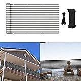 MIKK Balcony Privacy Screen, Privacy Cover Fence Screen Shield for Apartment Porch Deck Outdoor Backyard Patio Balcony 3×16.4' (Grey White)