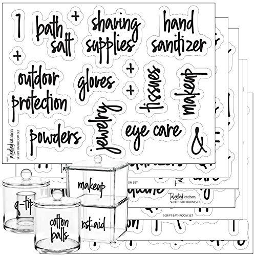 Talented Kitchen Script Bathroom Organization Labels – 123 Bathroom, Beauty & Makeup Preprinted Stickers. Clear, Water Resistant, Canister Labels. Jar Decals Bath Storage (Set of 123– Script Bathroom)