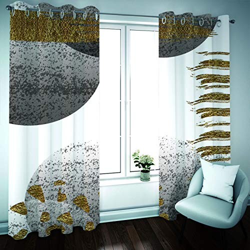 YUNSW Geometric Abstract Painting Curtains, 2-Piece Perforated Curtains, Blackout And Soundproof Curtains For Living Room, Bedroom, Kitchen And Garden