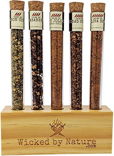 Chili Geschenk Set - 5 superscharf Chilischoten Reagenzglas-Set mit Holzhalterung (inkl. Carolina...