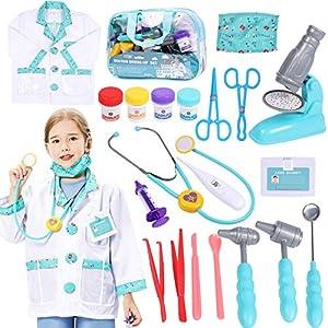 Tacobear Maletin Medicos Juguete Doctora Juguetes Disfraz Estetoscopio Real Microscopio Jeringa Accesorios Doctora Juguetes Médicos Kit Médico Juguete Regalos para Niños 20 Piezas