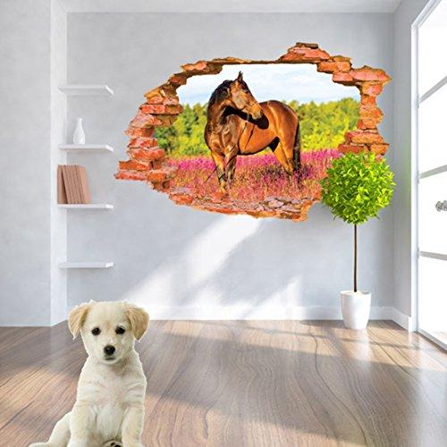 AUVS® 3D- zelfklevende afneembare muurstickers voor muurdoorbrekend, vinyl muursticker, muurtekening, kunststicker, decoratief Paard Horse 8001H (60 x 90 cm)