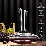 ADMY Wein Dekanter, 1.8L Weinkaraffe Set aus Kristallglas, Rotwein Bleifreies Glasdekanter, Dekantiergefäß Glasbelüftungsweinkaraffe Decanter, Dekantierflasche Geschenk für Weihnachten Weinliebhaber - 3