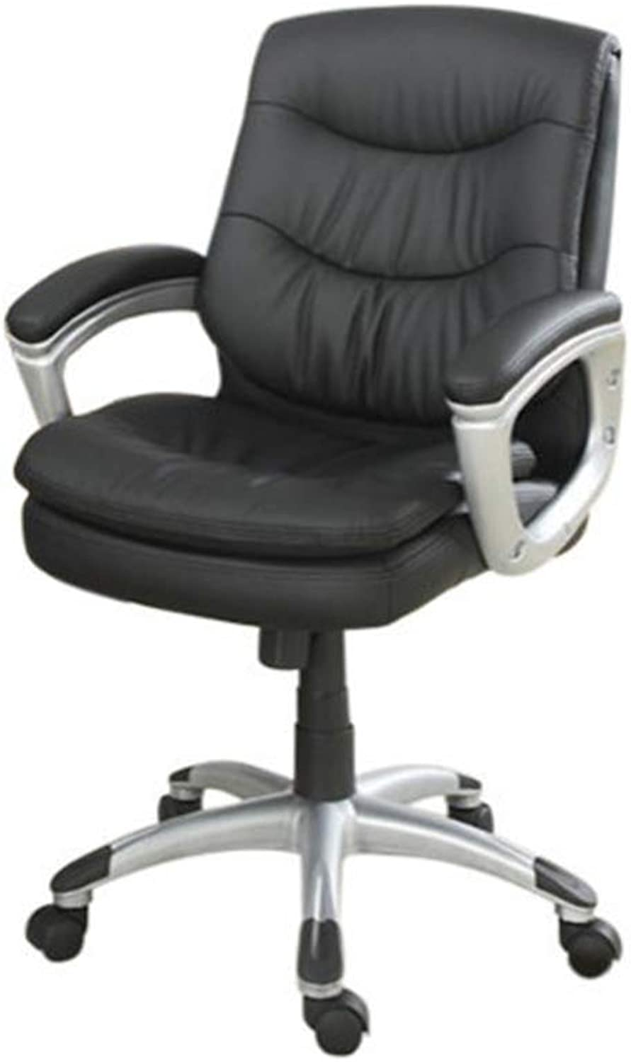 Benzara Aluminium Base Office Chair with Leather Seat, Black