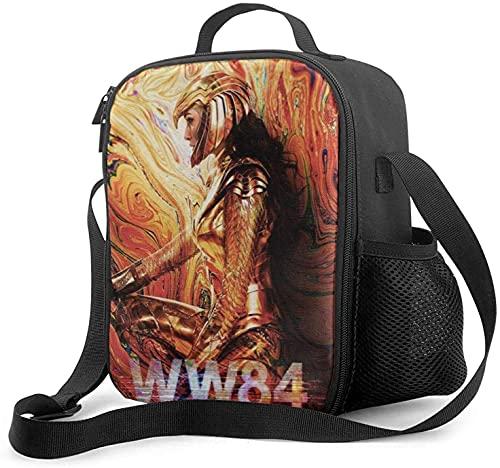 KEROTA Wonder-Woman 1984 Bolsa de almuerzo aislada con correa para el hombro, caja de almuerzo, bolsa de almuerzo para la escuela, trabajo, oficina, al aire libre, picnic, camping, viajes, pesca