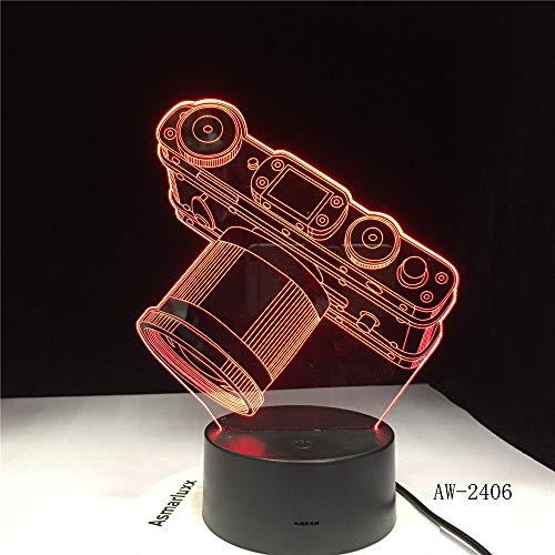 jiushixw 3D acryl nachtlampje met afstandsbediening van kleur veranderende tafellamp zilveren camera digitale camera getoond verkochte bloem tafellamp kinderkamer mini