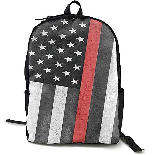 Rugzak, reistas voor grote luiers, American Thin Line Red Firefighters Flag Backpack voor school voor dames en heren