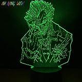 Lámpara de ilusión 3D Luz de noche LED Cool Child Marvel Supervillain The Joker para niños Decoración de dormitorio para niños Regalo de cumpleaños