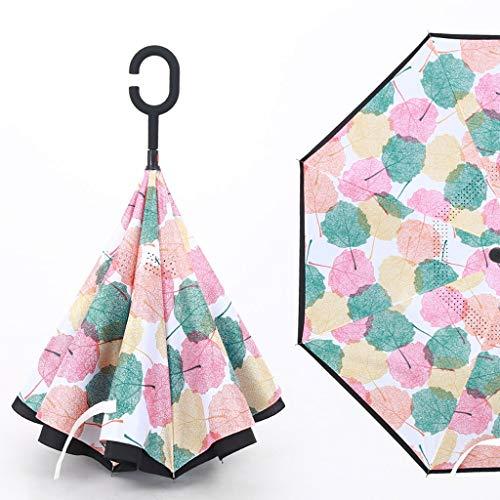 GFYS1201 Zakparaplu, omgekeerde paraplu, dubbellaags, vrijstaande paraplu met lange handgreep voor mannen en vrouwen, zonny regenscherm met dubbel gebruiksdoel