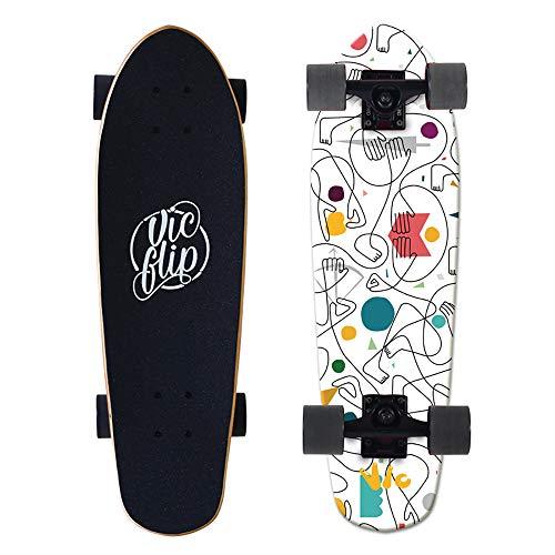 VOMI SFRMUT 27  Cruiser Skateboards de Madera de Arce de 7 Capas Tablas Completas Retro Skate de Surf Vintage, Skateboard Completos con Rodamientos ABEC-9, Adultos Unisex