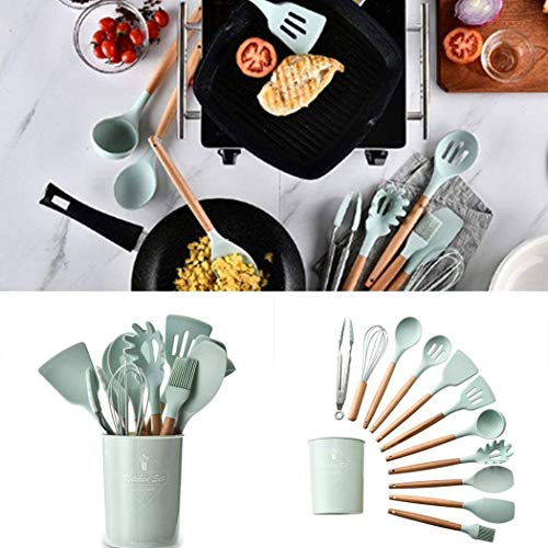Gfones Durable Practical Heat Resistant Silicone Kitchenware Kitchen Tool Cookware Sets (11 pcs set+1 Barrel)