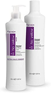 Fanola, set No Yellow shampoo + No Yellow Mask, biondo con mèches, grigio, anti giallo, 2 x 350ml