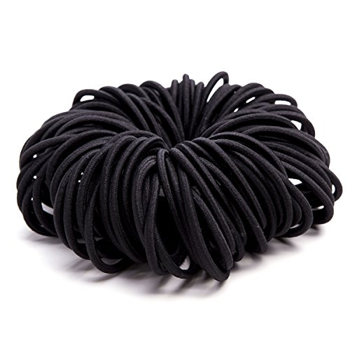 Ezepeo 120 PCS Black Hair Ties No Crease Ouchless Ponytail Holders No Metal Hair Bands Hair Elastics Soft Rubber Bands, 4mm