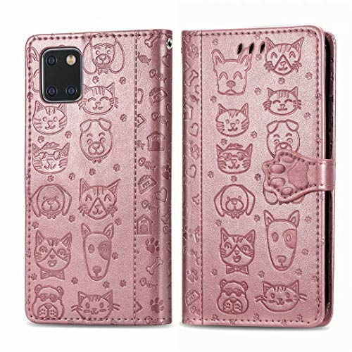 Abtory Galaxy Note 10 Lite Carrying Case,Cat&Dog Pattern PU Leather [Wrist Strap] [Card Holder/Cash Slots] Stand Flip Cover for Samsung Galaxy Note 10 Lite Rose Gold