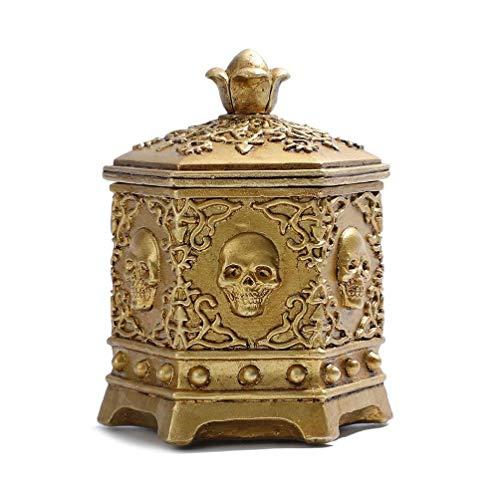 Caja de joyería de calavera de esqueleto vintage de Halloween, collar hexagonal, anillo de cadena, caja de joyería para mujeres pequeñas