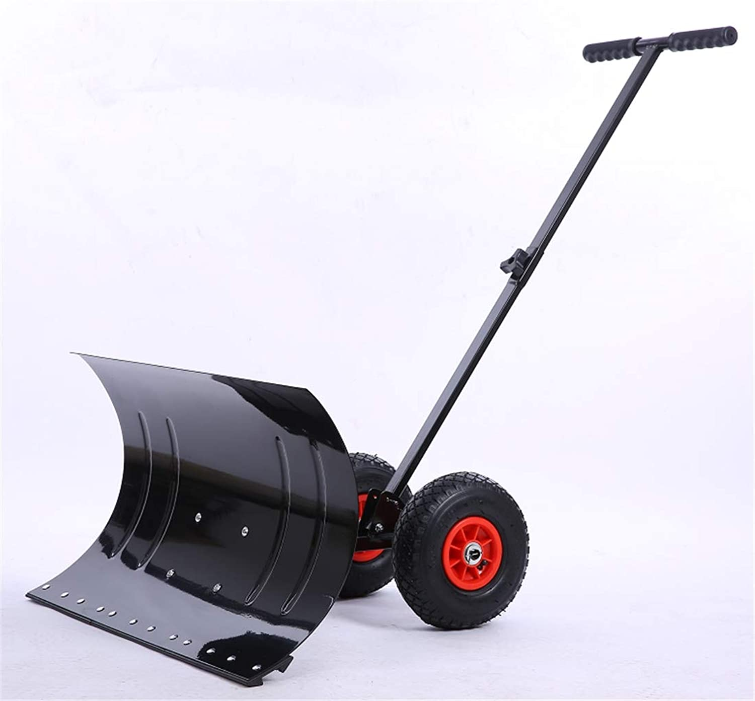 Push Snow Shovel, Double Wheel Shovel with Snow Pushing Device, Easy to Operate and Labor Saving
