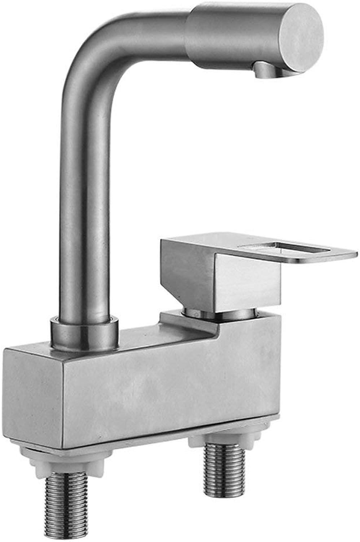 JFFFFWI Zwei-Loch-Wasserhahn 304 Edelstahl rotierenden heien und kalten verstellbaren Bad Waschbecken ffnung 32 mm bis 40 mm kann Liuyu installiert Werden.