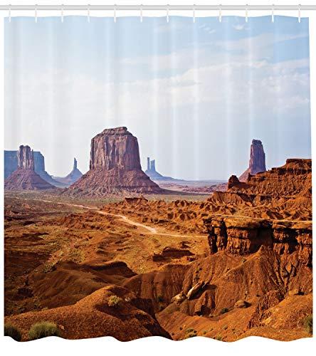 Ambesonne Desert Duschvorhang, Monument Valley Blick von John Fords Point Merritt Butte Sandstein Bild, Stoff Badezimmerdekoration Set Haken, 105 cm extra breit, Baby Blue Mauve Amber