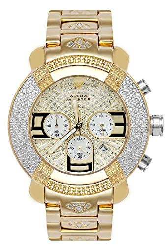 Aqua Master Gold Tone Chronograph 20 Diamond Quartz Men's Watch W96