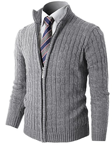 H2H Mens Slim Fit Full-Zip Kintted Cardigan Sweaters with Twist Patterned LightGray US S/Asia M (KMOCAL032)