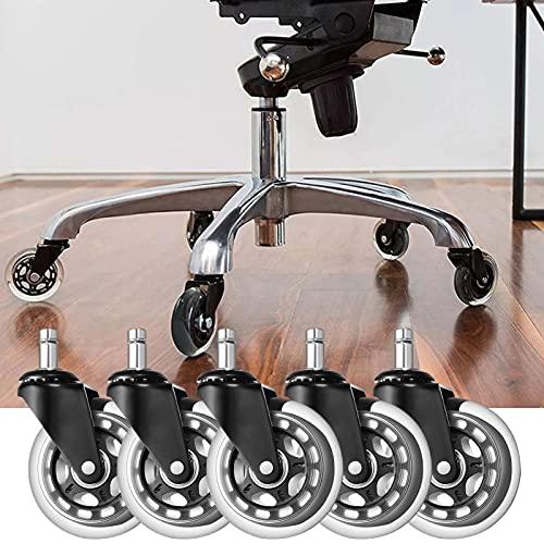 Ruedas de repuesto para silla de oficina de 2,5/3 pulgadas, eje de 11 mm, capacidad de 150 kg, rotación de 360 grados, rueda de silla de escritorio con rodamientos silenciosos