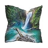 QMIN - Bufanda cuadrada de seda, cascada tropical, paisaje de la selva, pañuelo para el pelo, ligera, pañuelos para el cuello, 60 x 60 cm
