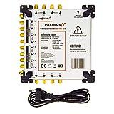 PremiumX PXMS 17/8 Multischalter mit Netzteil Multiswitch 4 SAT für 8 Teilnehmer Satverteiler Digital HDTV FullHD 4K UHD 8K -