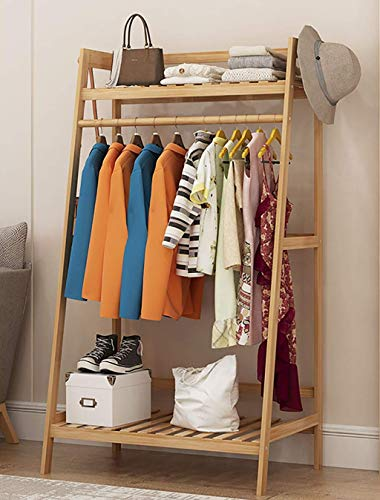 Bamboo Floor Clothes Rack for Bedroom,Free-standing Garment Rack Multipurpose Clothes Drying Shelf for Jacket Pan. (Size : 70×40×140cm)