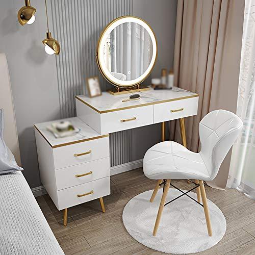 Vanidad turística, la vanidad del maquillaje con espejo luces LED a prueba de agua y silla, mesa de mármol del maquillaje, fácil de montar, for el dormitorio-White (Color : White 100cm+chair)