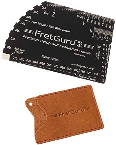 FretGuru String Action Gauge Guitar Ruler Precision 8-in-1 Fret Rocker Luthier Tool Guitarist Gift #Bonus Leather CASE# Precise CNC Machined, Diamond Honed, Polished Edge = NO Scratched FRETS