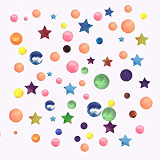 BangBoom 374pcs Colorful Circle and Star Wall Stickers, Removable Rainbow Dots Wall Decals, Multi Size Art Window Decor fo...