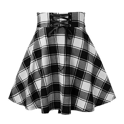 N\P Falda de mujer Casual Celosía Empalme Frenulum Mini falda con cordones de cintura alta falda